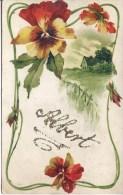 NOVELTY - EMBOSSED FLOWERS WITH ALBERT IN GLITTER Nov103 - Firstnames