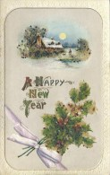 NOVELTY -  EMBOSSED HOLLY - NEW YEAR With ADDED GLITTER Nov134 - New Year