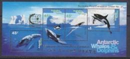 "AAT 1995 Whales & Dolphins M/s Overprinted ""Singapore"" ** Mnh (23591) - Australian Antarctic Territory (AAT)"
