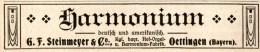 Original-Werbung/ Anzeige 1913 - HARMONIUM / STEINMEYER / OETTINGEN - Ca. 115 X 20 Mm - Werbung