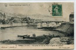 CPA 91  CORBEIL VUE PRISE EN AVAL DU PONT ET EGLISE ST LEONARD 1845 - Corbeil Essonnes