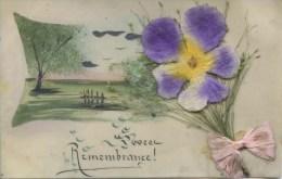 NOVELTY -   CELLULOID - FLOWERS APPLIQUE - REMEMBRANCE  Nov148 - Postcards