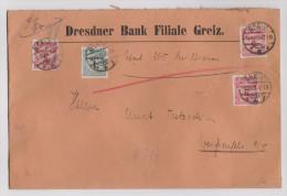 DR 1923-10-18 GREIZ Wertbrief 200 Milli. 33 Gr. Nach Weissenfels Seltenes Porto - Briefe U. Dokumente