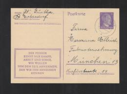 Dt. Reich GSK Mit Propagandaspruch 1944 Erbendorf Nach München - Deutschland