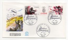 """1984--enveloppe 1er Jour-FDC""""Soie""""-40° Anniv De La Libération-Résistance,débarquements,parachutisme-cachet  PARIS--75 - FDC"""