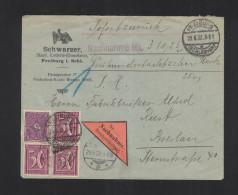 Dt. Reich Nachnahme-Brief 1922 Freiburg I. Schlesien - Deutschland