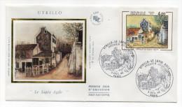 """1984--enveloppe 1er Jour-FDC""""Soie""""--UTRILLO--""""Le Lapin Agile"""" (Montmartre)--cachet  PARIS--75 - FDC"""