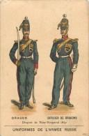 RUSSIE -Uniforme De L´Armée Russe - ** Dragon Et Officier Dragon ** - Carte Chromo Ancienne (7 X 11 Cm) - Russia