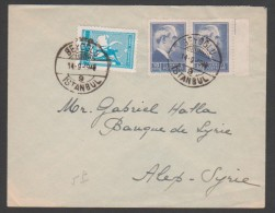 Turkey,Syria, Letter Send From Istanbul To Aleppo 1946,Cover. - Lettres & Documents
