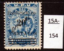 Paraguay 1908 : Surcharge On 1903 Lions 20c/5c Blue-Green MH (1) SG 174, Scott 166 - Paraguay