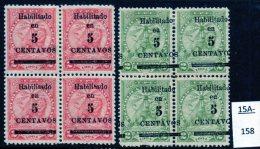 1907 Paraguay Lions 5c/2c Vermilion + 5c/2c Green, Both In MH/MNH Blocks/4 (8) SG 144/45 - Paraguay