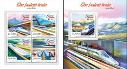 Sierra Leone 2015, Modern Trains, 4val In BF +BF - Sierra Leona (1961-...)