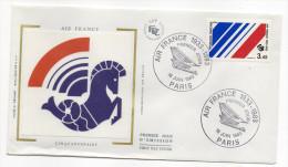 """1983--enveloppe 1er Jour-FDC""""Soie""""-50° Anniv Companie Aérienne AIR FRANCE--cachet  PARIS--75 - FDC"""