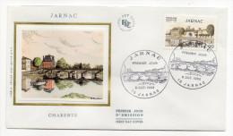 """1983--enveloppe 1er Jour-FDC""""Soie""""--JARNAC-16-Pont Sur La Charente - Cachet   JARNAC--16 - FDC"""