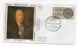 """1983--enveloppe 1er Jour-FDC""""Soie""""--200° Anniv Indépendance Américaine-Benjamin Franklin - Cachet VERSAILLES-78 - FDC"""