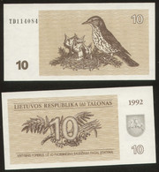 Lithuania 10 Talonas  1992  Pick 40 UNC - Lithuania