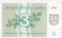 Lithuania 3 Talonas  1991  Pick 33b  UNC - Lithuania