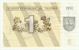 Lithuania 1 Talonas  1991  Pick 32a  UNC - Lituanie