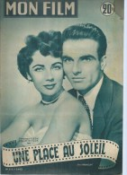"MON FILM  N° 315  - 1952 "" UNE PLACE AU SOLEIL "" MONTGOMERY CLIFT / ELIZABETH TAYLOR - Dos: CYD CHARISSE - Cinema"