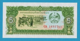 LAOS 5 Kip  ND (1979)  # CA 1492741 Elephants - Laos