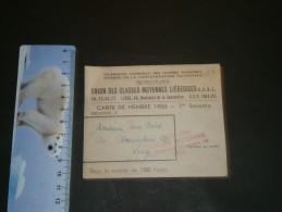 Union Des Classes Moyennes Liégeoises Carte De Membre 1950 M .VAN AUBEL  Av De L'Observatoire 121 - Documents Historiques