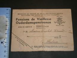 Ministère Du Travail Et De La Prévoyance Sociale. Carte De Pension De Vieillesse Mr LAMBRECHT EDMOND - Vieux Papiers