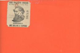 Ticket D'entrée - The Dickens House, London, W.C.  - Admission One Shilling & Sixpence - Tickets D'entrée