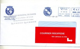 Lettre Flamme Ema Herblay Armoirie Mairie Francoville - Marcophilie (Lettres)
