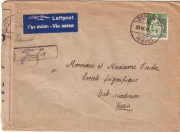 SUISSE - ENVELOPPE DE ZURICH LE 20-3-1941 PAR AVION POUR BAB SAADOUM TUNISIE - BANDE DE CENSURE AVEC CONTROLE VA329 I. - Poststempel
