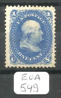 EUA Scott  63b X OG Fine To Very Fine - 1847-99 General Issues