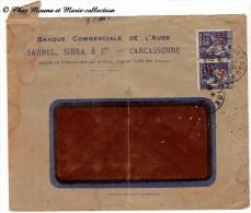 1941 - TYPE PAIX 50 SUR 55 SURCHARGE ET PERFORE BC - CARCASSONNE BENEVENT L ABBAYE - Marcophilie (Lettres)