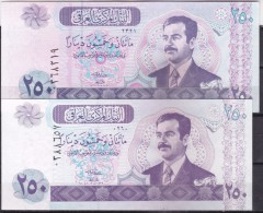 IRAQ BANKNOTES: 2002 / 250 DINARS /  DIFFERNT SIZE , BOTH WATERMARKED