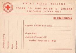 ITALIE - CARTE POSTALE CROIX ROUGE POUR PRISONNIER DE GUERRE - CROCE ROSSA ITALIANA - POSTA DEI PRIGIONIERI DI GUERRA -O - Italie