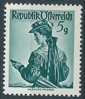 1948-50 AUSTRIA COSTUMI REGIONALI 5 G MNH ** - A053-2 - 1945-.... 2a Repubblica