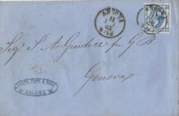 LITO71 -15 Cent Lito 2° Tipo Del 11 Luglio Involucro Senza Testo Da Ancona A Genova. .VARIETA' - Leggi... - 1861-78 Victor Emmanuel II.