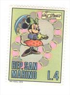 F349 - Minny Minnie Ombrello Umbrella Paperino Topolino Etc - Walt Disney - Francobollo Nuovo - Repubblica Di San Marino - Unused Stamps