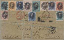 G)1895 PERU, PRES. REMIGIO MORALES BERMUDEZ, COMPLETE SET ON COVER EXCEPT SCT. 128., UPU, CIRCULATED REGISTERED & MARITI - Peru