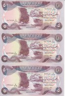 IRAQ 5 DINARS 1980 1981 1982 P-70 AU-UNC LOT 3 DIFFERENT DATES */*