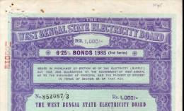 India 1985 West Bengal State Electricity Bonds 3rd Series Rs. 1000 # 10345P Inde Indien - Electricité & Gaz