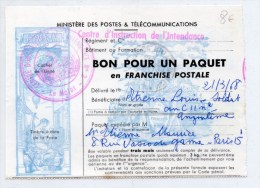 1968 - BON POUR UN PAQUET EN FRANCHISE POSTALE Du CENTRE D´INSTRUCTION DE L´INTENDANCE N°2 - Marcophilie (Lettres)