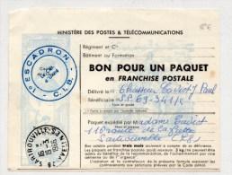 1966 - BON POUR UN PAQUET EN FRANCHISE POSTALE Du 1° ESCADRON C.I.B - Marcophilie (Lettres)