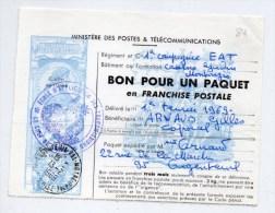 1969 - BON POUR UN PAQUET EN FRANCHISE POSTALE De L'ECOLE D'APPLICATION DES TRANSMISSIONS - Marcophilie (Lettres)