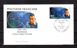 """(Faciale = 4.19 €) POLYNESIE FRANCAISE 1996 : Env. 1er Jour """" PAUL-EMILE VICTOR """" N°YT 502. Parfait état. FDC"""