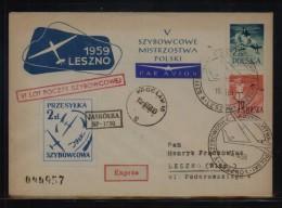 POLAND 1959 6TH GLIDING FLIGHT JASKOLKA GLIDER WROCLAW TO LESZNO CINDERELLA STAMP RED CACHET BLACK GLIDER COVER - Airmail