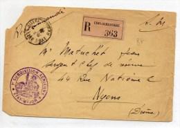 ENVELOPPE FM RECOMMANDEE De LYON Avec CACHET 7° SUBDIVISION AERIENNE - Marcophilie (Lettres)