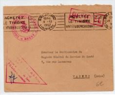 """1957 - ENVELOPPE FM De BREST (FINISTERE) Avec CACHET """"DIRECTION DU SERVICE DE SANTE"""" - Marcophilie (Lettres)"""