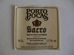 Label Etiquette Rotulo Wine Vin Vinho Porto Poças Sacro Para Missas Manoel D. Poças Junior, Lda Portuguese Portugal - Etiquettes