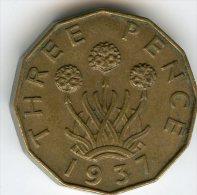 Grande-Bretagne Great Britain 3 Pence 1937 KM 849 - F. 3 Pence