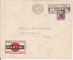 MARTINI E ROSSI, MILANO, BUSTA COMMERCIALE VIAGGIATA 1950, POSTE MILANO TARGHETTA  PANETTONE MOTTA, - Altri Bottiglie