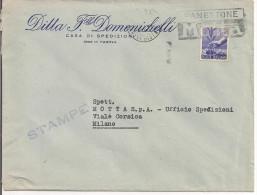 DOMENICHELLI, SPEDIZIONI, PADOVA, BUSTA COMMERCIALE VIAGGIATA 1950, POSTE MILANO TARGHETTA MOTTA - Camion